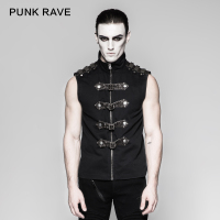 Punk Rave Rock Fashion Black Goth Steampunk Armour Sleeveless Personality Men's T Shirt Y741
