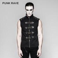 Punk Rave Rock Fashion Black Goth Steampunk Armour Sleeveless Personality Men's T Shirt Y741