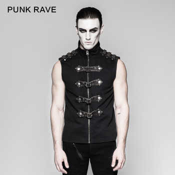 Punk Rave Rock Fashion Black Goth Steampunk Armour Sleeveless Personality Men\'s T-Shirt Y741 - DISCOUNT ITEM  8 OFF Men\'s Clothing