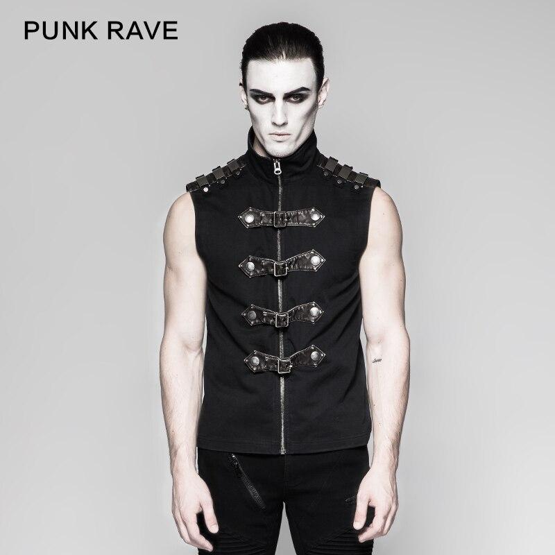 Rave Punk Rock moda negro gótico Steampunk armadura sin mangas personalidad hombres camiseta Y741-in Camisetas from Ropa de hombre    1