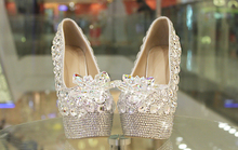 16 CM Spring/summer new crystal shoes wedding shoes bridal shoes wedding pearls handmade white Transparent crystal l high heels(China)