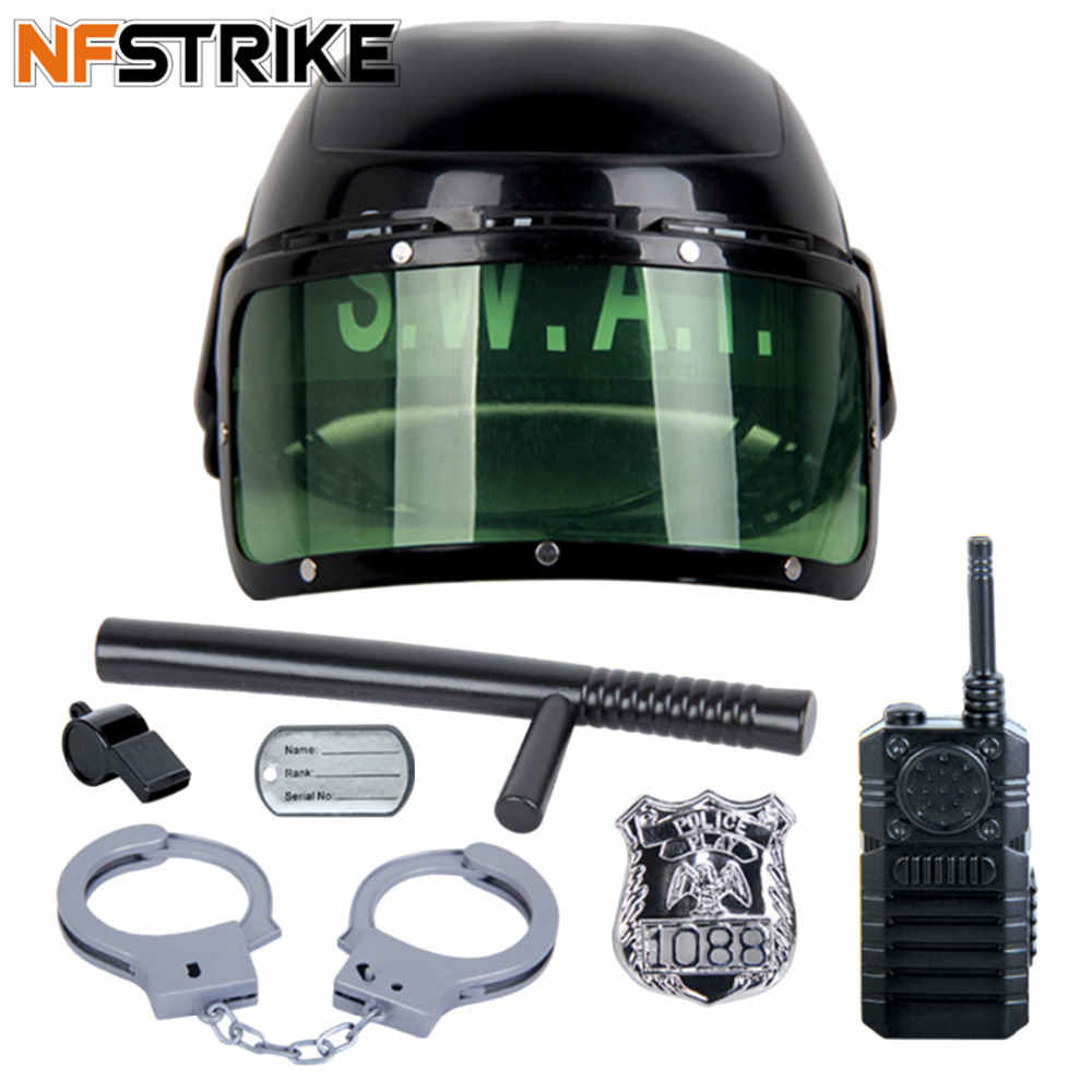 7Pcs/set Kid's Police Motorcycle Cop Helmet And Officer Accessory Role Play Costume Set