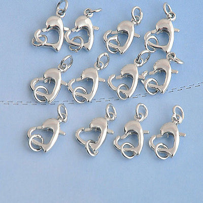 50PCS Findings Making Jewelry Findings Repair Connector Sterling Color Heart Lobster Claw Clasps 11X11MM