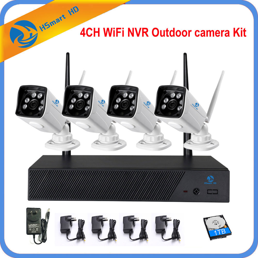 4CH CCTV System Powerful Wireless 720P NVR 4PCS 1MP IR Outdoor P2P WiFi IP CCTV Security Camera System Surveillance Kit 1TB HDD 5 8g 1 0 mp 1 4 color cmos 4ch 720p wifi 1 nvr with 4 pcs waterproof ir bullet wireless ip camera wireless cctv system kit