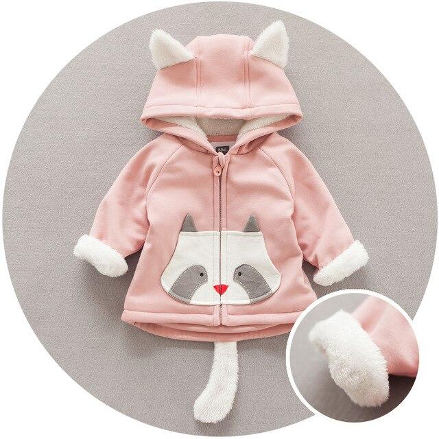 Новорожденных девочек и мальчиков зима теплая одежда Корейский стиль Мультфильм фокс распечатать толстовка хлопок детские пальто детские верхняя одежда пальто