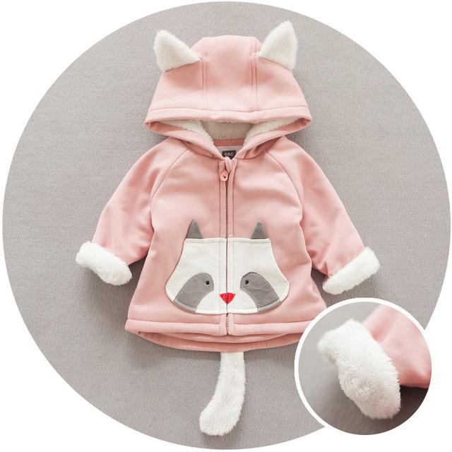 Recién nacido bebé niñas y los niños de invierno ropa de abrigo estilo Coreano de Dibujos Animados fox imprimir sudadera con capucha abrigo de algodón bebé infantil abrigo prendas de vestir exteriores