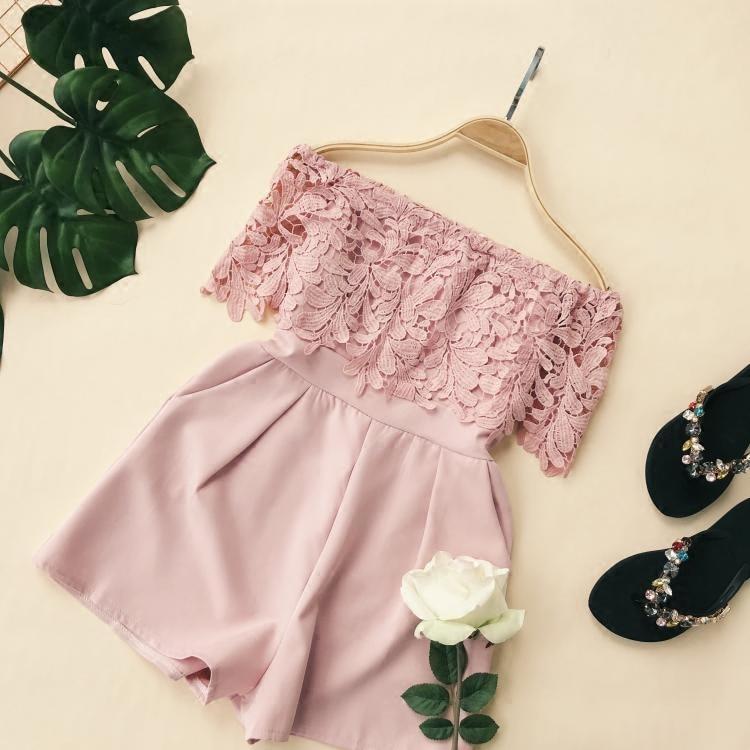 Summer Women Fashion Regular Lace Crochet Floral Hollow Out Playsuit Ladies Urban Romper Overalls Wide-leg-pants Jumpsuits