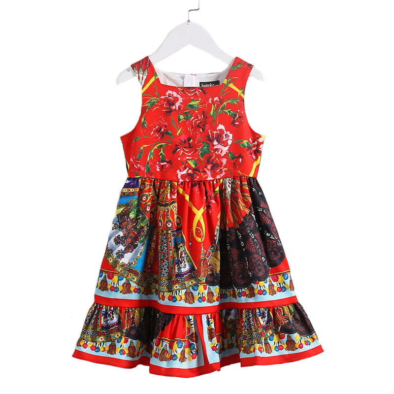 New Summer Children Dress Girls Cotton Flowers Print for Princess Baby Vest Royal Court Pattern Clothing For Party High Quality