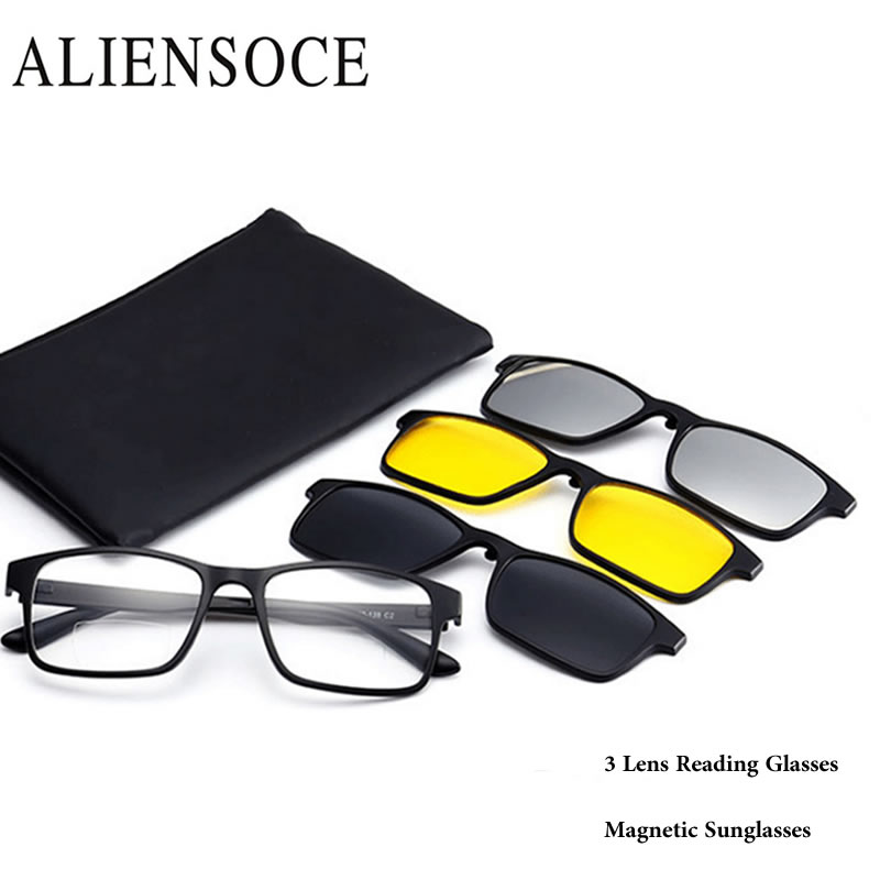ae65201ea43 Far Distance and Near View Bifocal Multifocal Light Presbyopic Reading  Glasses with 3pcs Suns Clip-on Magnet Mirrored Spectacles