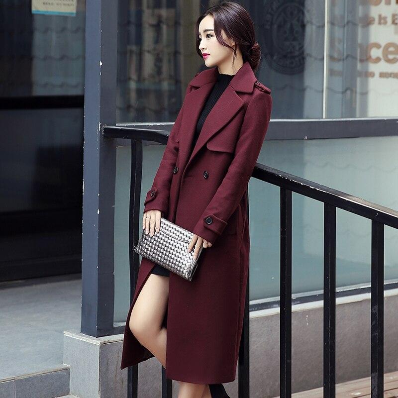 Pocket Cape Wine Outfit coréen Tissu Red Manteau Slim Top Nouvelle Automne Avec Hiver Mode Manteaux Ceinture De Femmes Laine Long Overwear PRIwa