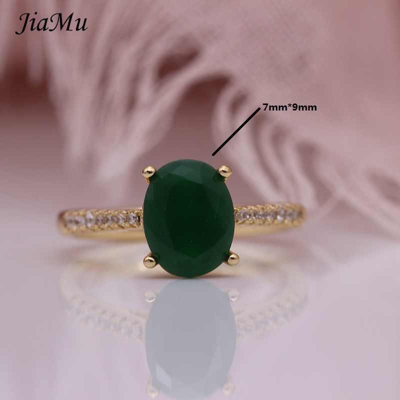 JiaMu ใหม่ร้อนขายแฟชั่นการตั้งค่าหยกสีเขียวสแควร์ zircon 585 rose gold แหวนผู้หญิงเครื่องประดับงานแต่งงาน