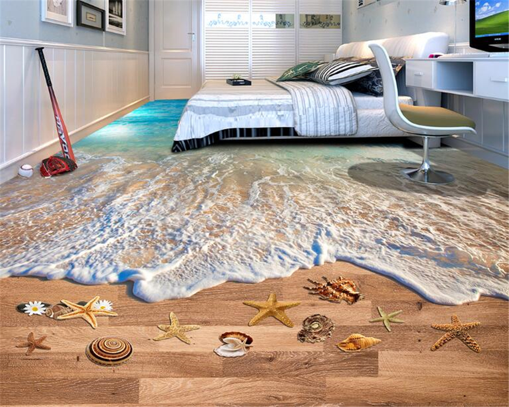 beibehang 3d wallpaper Beautiful decorative wallpaper waves beach bathroom 3D floor tiles three dimensional painting tapety in Wallpapers from Home Improvement