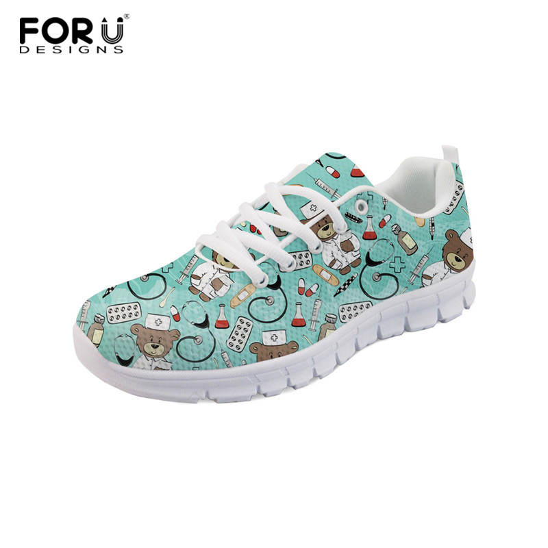FORUESIGNS Women Sneakers 2018 Fashion 3d Nurse Bear Printing Summer Ladies Casual Shoes Women Lace-Up Footwear Flat Shoes