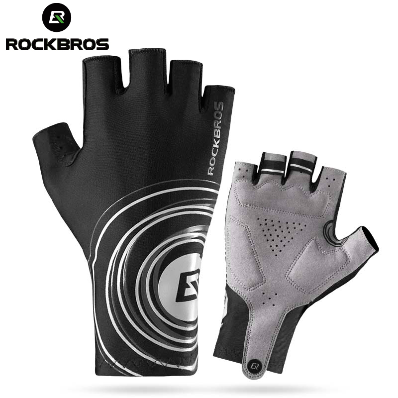 ROCKBROS ciclismo carretera corta guantes hombre deportes medio dedo Anti Slip Gel Pad bicicleta MTB Road Bike guantes 2 colores