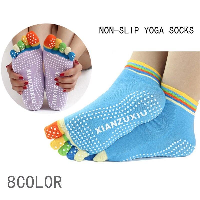 Top Quality Women's 5 Toes Cotton Colorful   Socks   Exercise Pilates Massage non-slip   Sock   Toe Five Fingers Girl Female   Socks