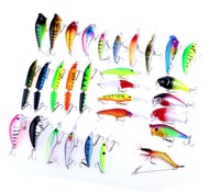 30pcs Mixed Fishing Lures Bass Bait Jointed Minnow Popper Crankbait Swimbait Plastic Shrimp Topwater Tackle Saltwater Freshwater
