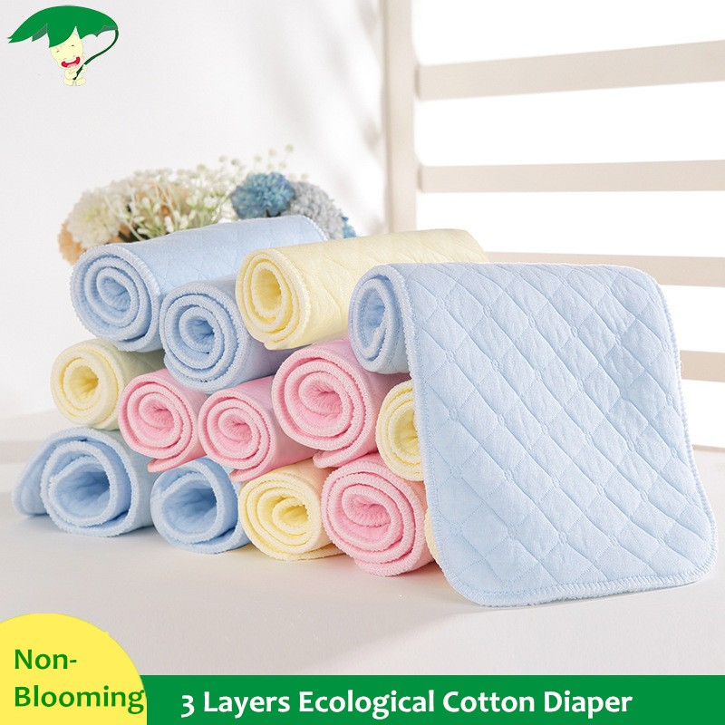 Super Absorbsent Pure Cotton Diapers 3/6/9 Layers Baby Nappies Washable 3 Colors 47*17cm Non-blooming