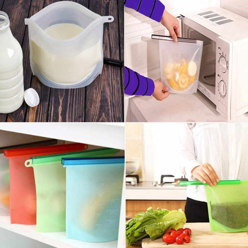 Silicone Food Storage Bags Reusable Fresh Bag Vacuum Sealer for Fruit Meat Milk completely sealed RT99