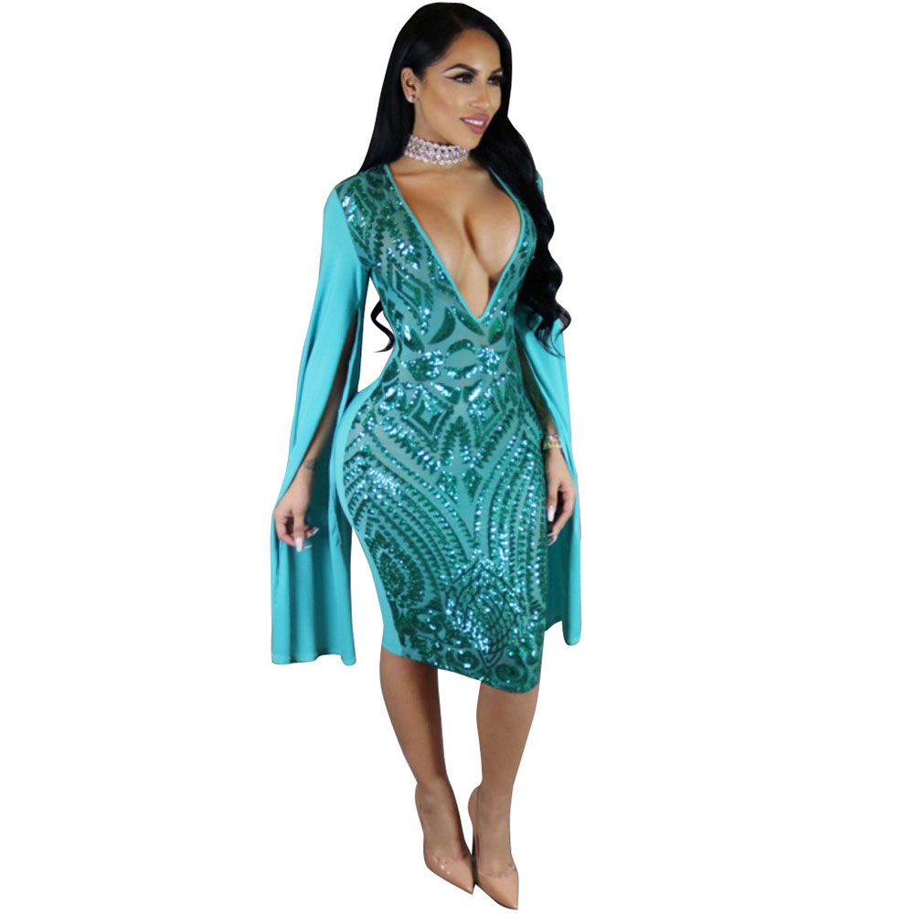 Sexy Club Dress 2017 Autumn Women Long Sleeve Cloak Cape Bodycon Sequin  Dress Sexy Blue Deep V Neck Party Club Sequined Dress 58dc4ab8d2d6