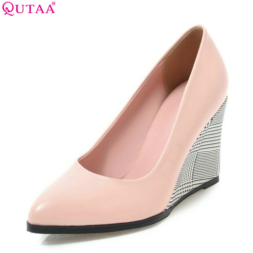 QUTAA 2018 Women Pumps Slip on Fashion Women Shoes Pu Leatherwedges Heel All Match Pointed Toe Women Wedding Pumps Size 34-43 qutaa 2018 women pumps thin high heel pu leather fashion women shoes platform peep toe slip on ladies wedding pumps size 34 43