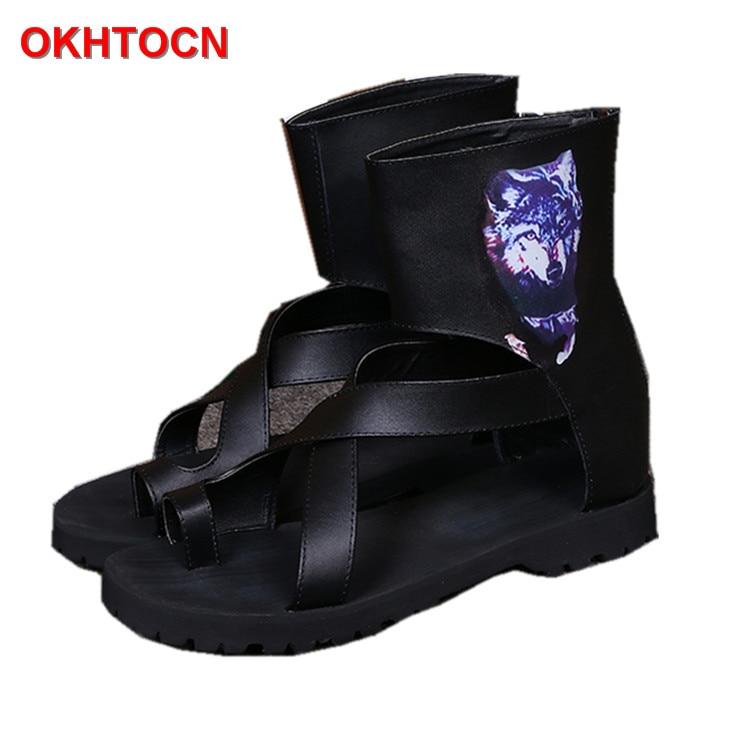 Мужчины Гладиатор лето сандалии сапоги черный Рим ремень Повседневная обувь OKHOTCN прохладный Пляжная обувь скольжения большой размер вьетнамки