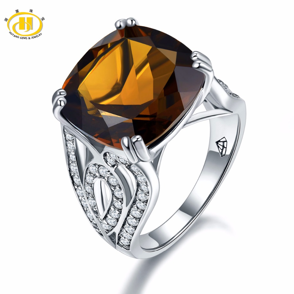 Hutang Huge Natural Smoky Quartz White Topaz Cocktail Ring Solid 925 Sterling Silver Women's Gift Gemstone Fine Jewelry New solid 925 sterling silver huge
