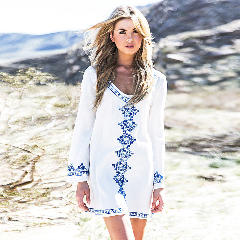 Cotton Bikini Embroidery Cover Up Skirt Loose Large Size White Sun protection clothing cotton Air-conditioned Short Beach Dress