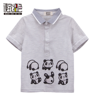 2018 New Casual Children Clothes Kids Polo Shirt Short Sleeves Panda Print Cotton Child Boys Baby