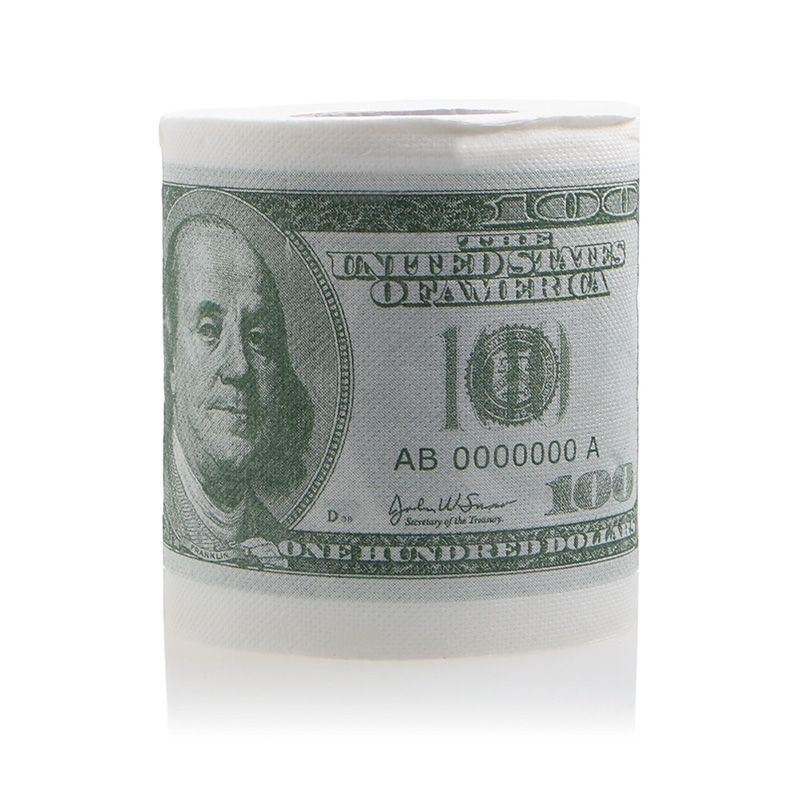 1Pc Funny One Hundred Dollar Bill Toilet Roll Paper Money Roll $100 Novel Gift