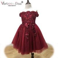 VARBOO_ELSA Lindo 3D Los Niños Apliques Vestido de Noche 2018 Vestido de Niña de las Flores Niña Desempeño de Borgoña Vestido de Tulle de La Muchacha