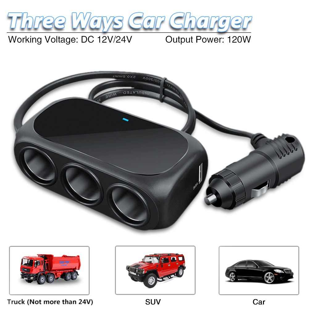 Three In One Universal 12V 24V Multi Socket Expander Charger Car Cigarette Lighter Splitter Dual USB Plug Adapter Car Accessorie