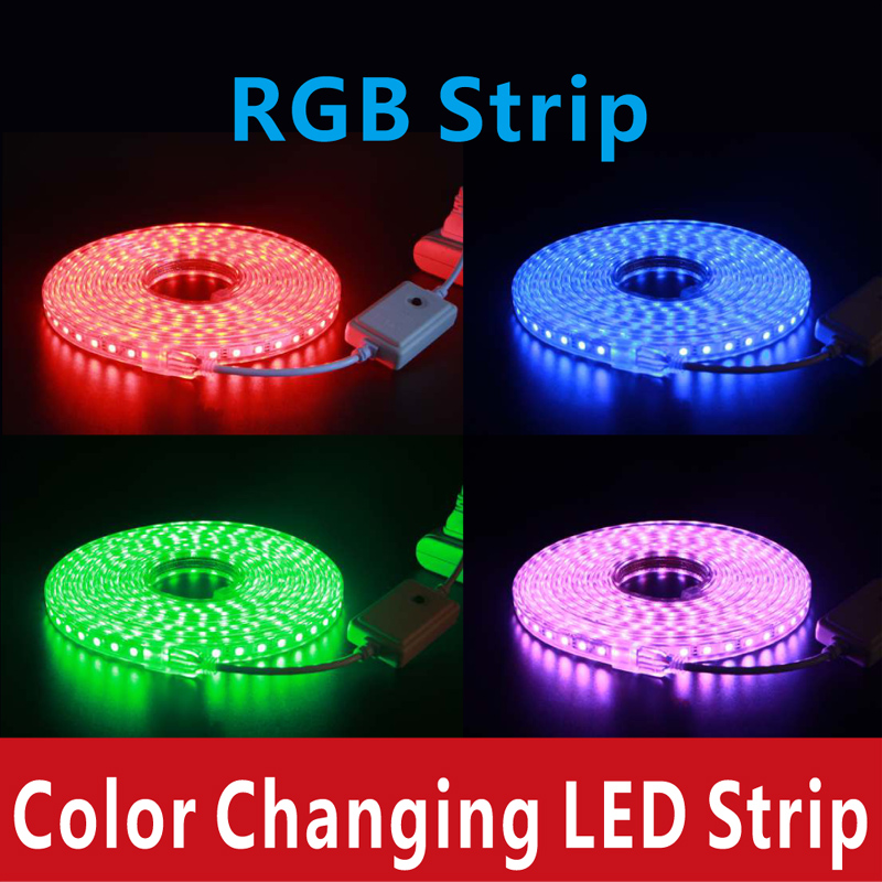 Color Changing Tape Light: Color Changing Led Strip RGB 220V 5050SMD With Power Plug