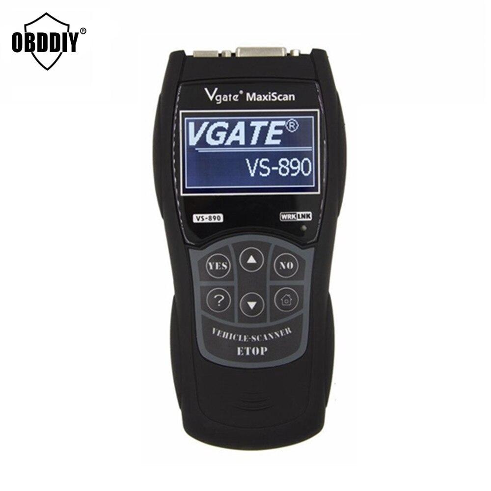 Цена за 2017 Новые VS890 OBD2 Code Reader Универсальный OBD2 Сканер многоязычная VGATE VS890 Автомобиля Диагностический Инструмент Vgate MaxiScan VS890