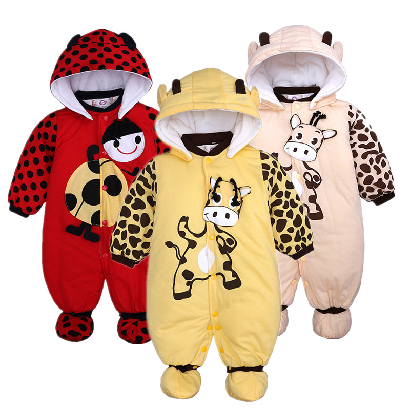 Winter Unisex Baby   Romper   Kids Boy Jumpsuits Hooded Newborn Girl Down Coat Warm Baby Suits Overalls Kids Clothing Parkas