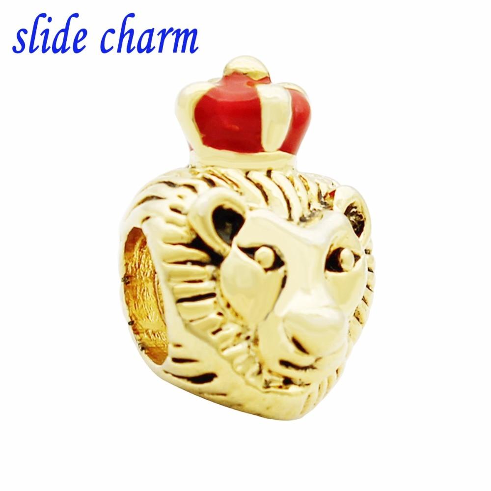 b4cf4f8bf ... norway slide charm free shipping red enamel and gold lion king animal  charm beads fit pandora ...
