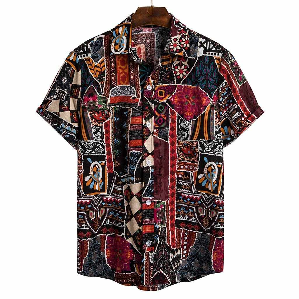 Hawaii 2019 new summer men linen shirt casual men's shirt black thin breathable slim short sleeve shirts plus size 3xl Clothing