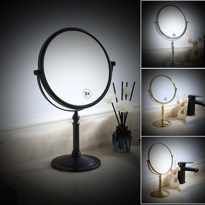 Best Sale 4b1ee Cosmetics Table Mirrors Round Desktop Revolving Brass Gold Makeup Mirror Stand For Makeup Magnifying 3x Oval Double Sided Mirror Fy Seamon Co