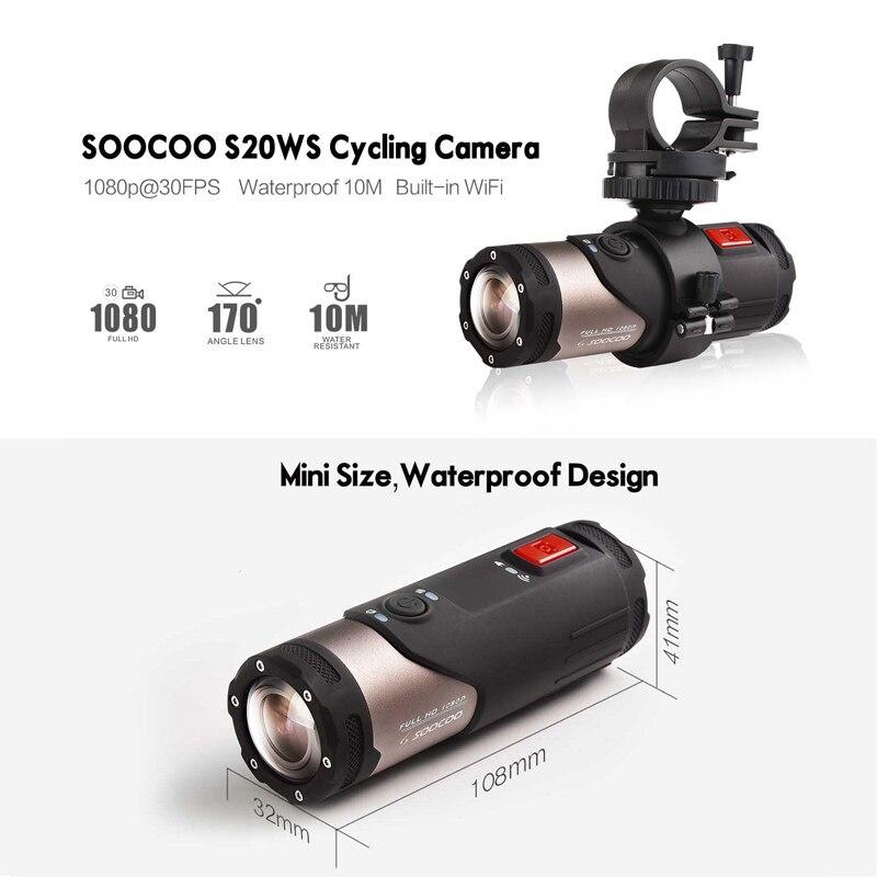Caméra d'action Mini caméscope SOOCOO S20WS 170 degrés caméra à objectif large intégrée WiFi Full HD 1080 P 10 m caméra de sport étanche - 2