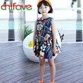 2016 New Summer Girls Dress Fashion Children Girls Sleeveless Floral Dress Baby Girls Knee-length Clothes Dresses