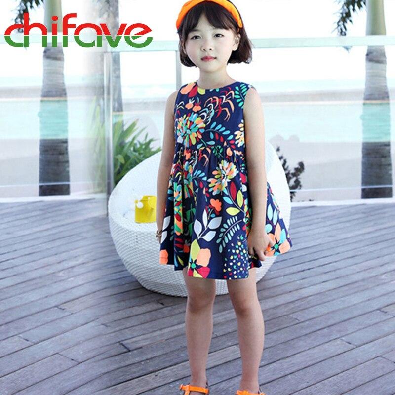 chifave New Summer Girls font b Dress b font Sleeveless Cotton Floral Print Children Girls font