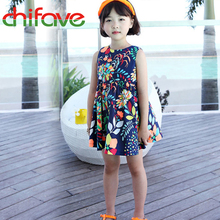 chifave New Summer Girls Dress Sleeveless Cotton Floral Print Children Girls Dress Baby Girls Knee-length Costume Fashion Dress