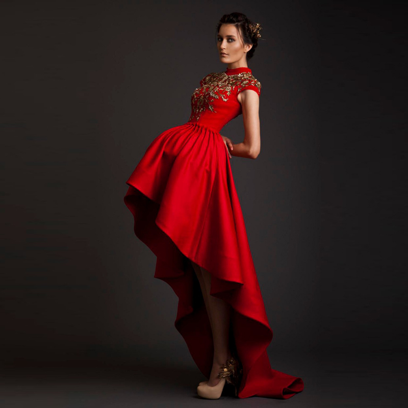 Red And White Wedding Dresses With Sleeves: 2015 Wedding Dresses High Neck Red Satin Bridal Gowns