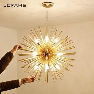 Image 4 - LOFAHS מודרני שגשוג תליון נברשת זהב אלומיניום צינור נברשת תאורה לסלון עסקים אירוע