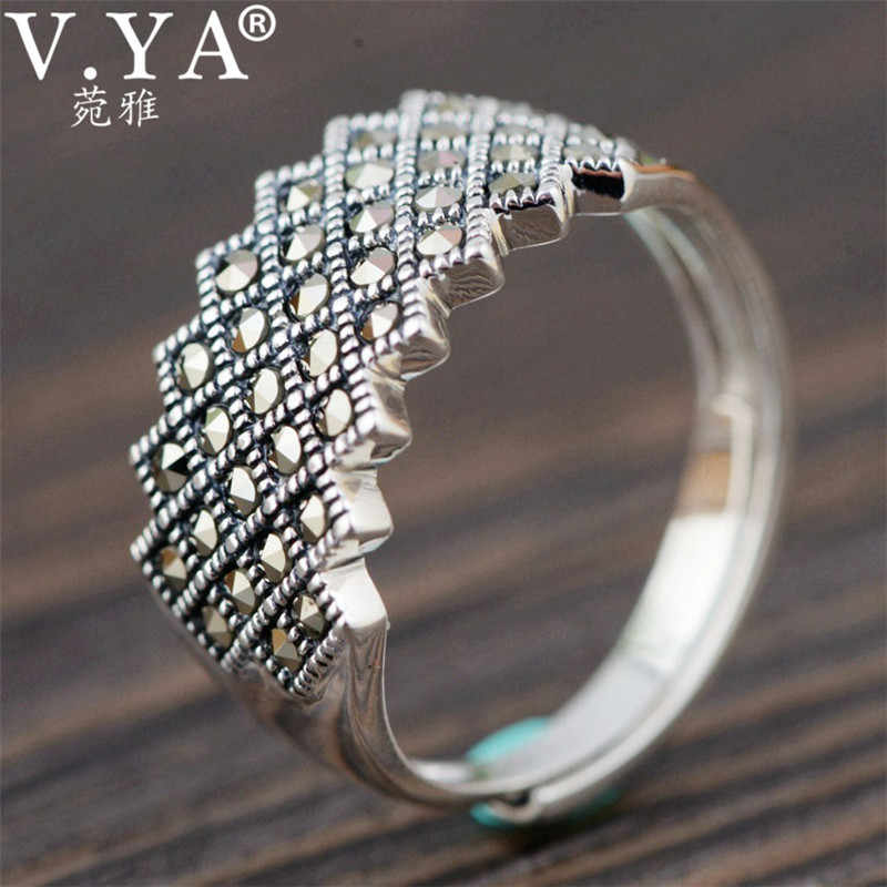 100% Real Pure 925 Sterling Silver Ring for women Wholesale free shipping Marcasite ring women Jewelry WR20105
