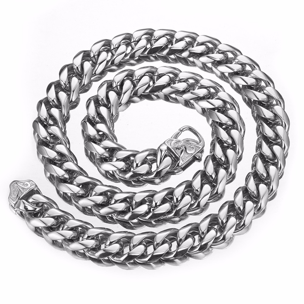 Trendy 15mm Wide Silver Top Quality Stainless Steel Men Curb Cuban Link Chain Necklace Fashion Men Boy Jewelry Gifts