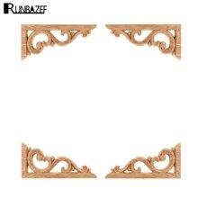 Decal Crafts Applique-Frame Door-Decor RUNBAZEF Unpainted Wood Home-Furniture Corner-Onlay