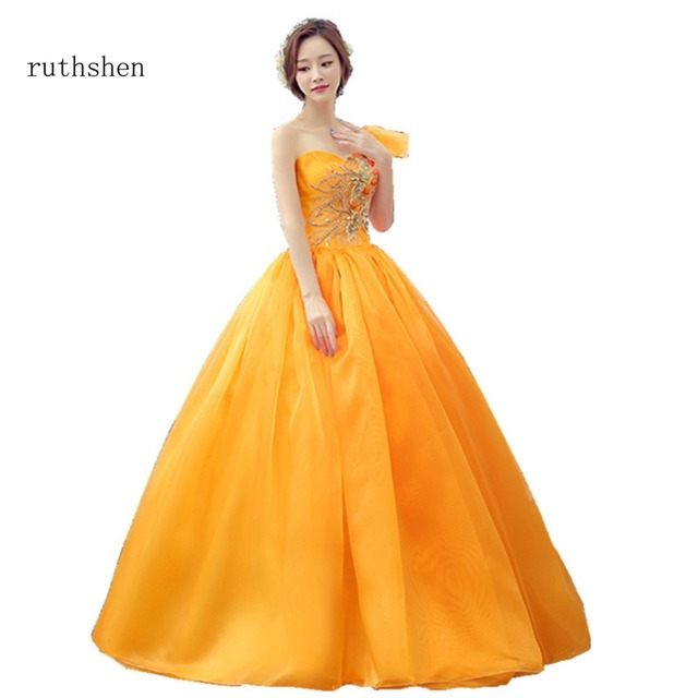 ruthshen Orange Color Quinceanera Dresses Real Photo Vestidos De 16 Anos  One Shoulder Ball Gowns Sweet 16 Sleeveless 2018 55d08e991345