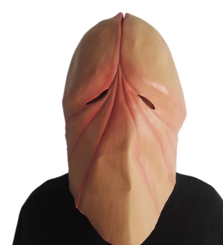Funny Natural látex pene Dick Head Full Face Cosplay Prop Halloween máscara casco