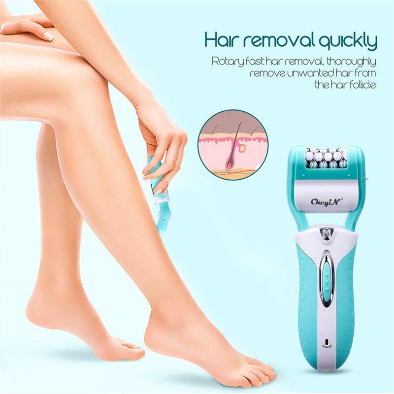 Image 2 - 3 In 1 Electric Epilator Women Hair Removal Painless Shaving Foot File Pedicure Tools Machine Female For Face Bikini Body Leg 49Epilators   -