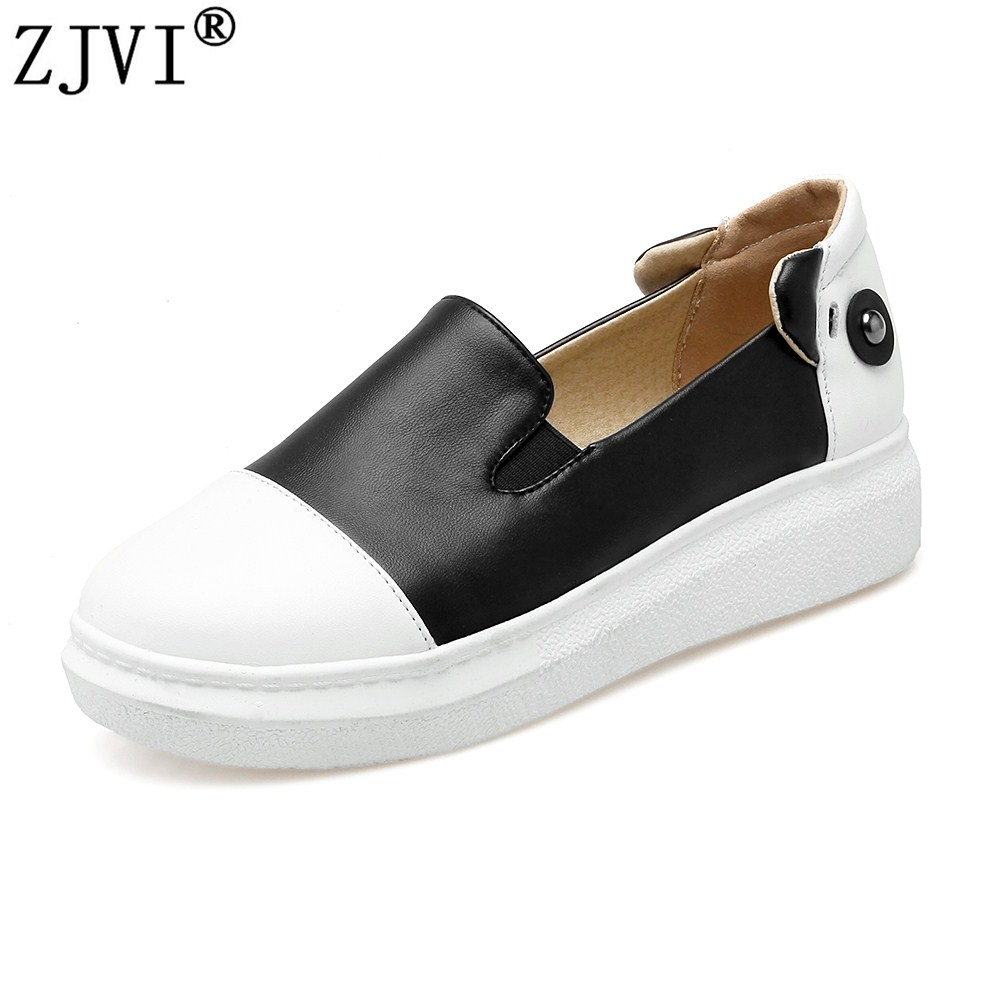 ZJVI Women round toe loafers 2018 spring autumn shoes woman flats womens black mixed colors casual shoes ladies flat sneakers 2017 womens spring shoes casual flock pointed toe narrow band string bead ballet flats flat shoes cover heel women flats shoes